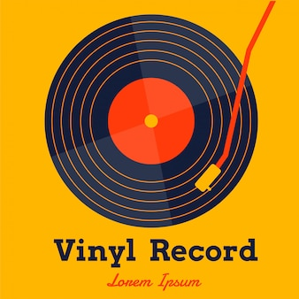 Vinyl record music vector with yellow graphic