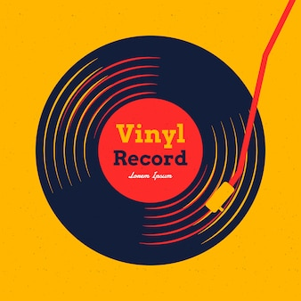 Vinyl record music with yellow graphic