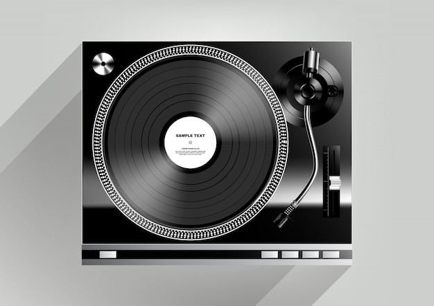 Vinyl record player on grey background and long shadow,  illustration