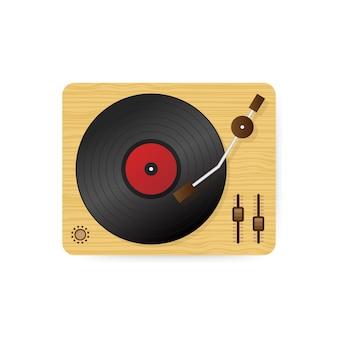 Vinyl record player illustration, flat cartoon retro vintage turntable playing melody. .