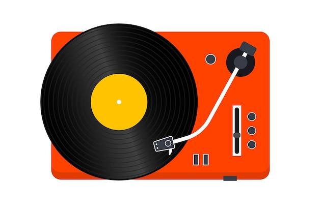 비닐 레코드 플레이어. 비닐 레코드 플레이어입니다. 레트로 디자인입니다. 전면보기. 비닐 레코드 디스크