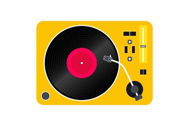 ビニールレコードプレーヤー。ビニールレコードのプレーヤー。レトロなデザイン。正面図。ビニールレコードディスク
