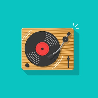 Vinyl record player or turntable vector illustration flat cartoon