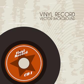 Vinyl record over vintage background vector illustration