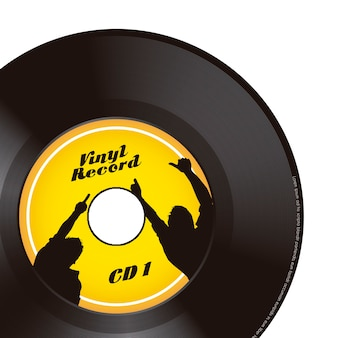 Vinyl record over white background vector illustration