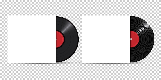 Vinyl record with blank cover, realistic style, set