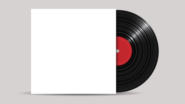 Vinyl record with blank cover, realistic style