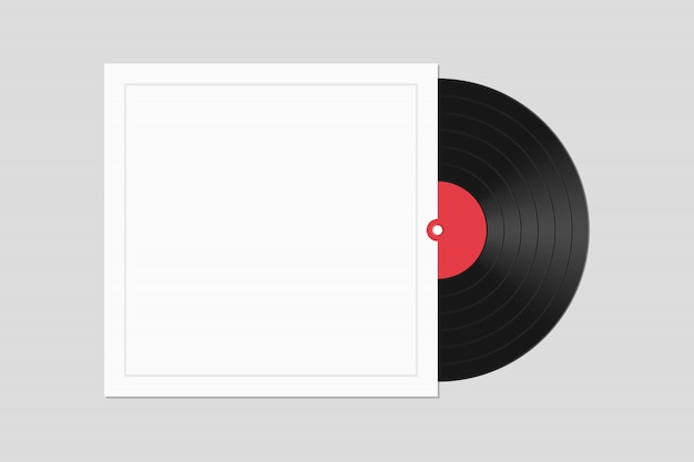 Vinyl record with cover   illustration isolated