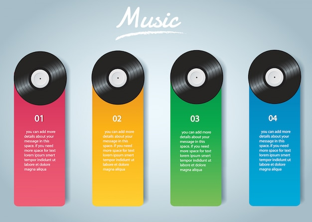 Vinyl record with cover infographic vector