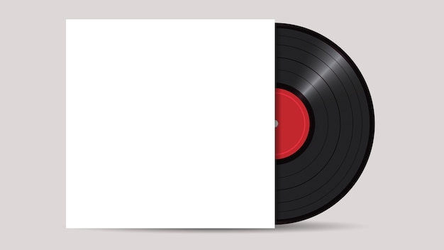 Vinyl record with cover mockup