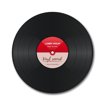 Vinyl record with red label. vinyl isolated on white. old technology. realistic retro design.