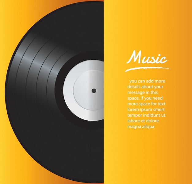 Vinyl record with yellow cover background