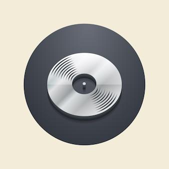 Виниловые пластинки значок иллюстрации, музыкальный образец. креативная и роскошная обложка