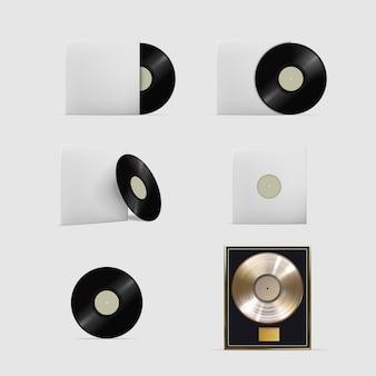 レコード。現実的なビニールオーディオディスクは、単一または白い背景のカバーセットのステレオプラッタを記録します。メディア機器アイコンイラスト。ミュージカルミックスストレージオブジェクトコレクション