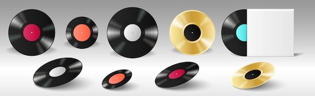 Виниловый набор реалистичных ретро-пластинок для граммофона с пустыми этикетками и в пустой обложке альбома для производства музыкальных пластинок. классические черно-золотые винтажные диски. векторная иллюстрация