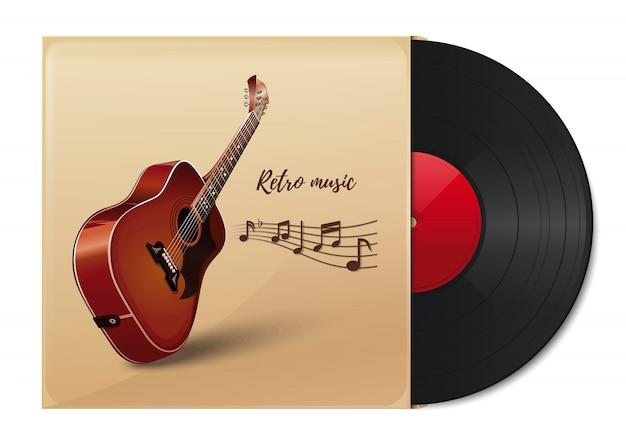 어쿠스틱 기타의 이미지와 함께 종이 봉투에 비닐 디스크. 빈티지 종이 표지에 비닐 레코드입니다. 복고풍 음악.