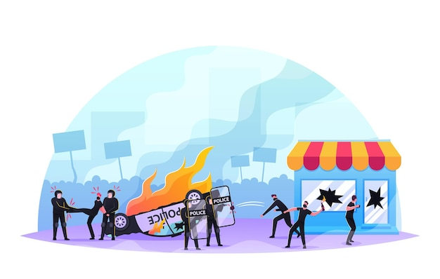 Violence riots, looting concept. aggressive masked anarchists male characters breaking store showcase, fighting with police forces, damage, political conflict. cartoon people vector illustration
