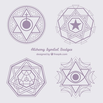 Violet abstract alchemy symbols