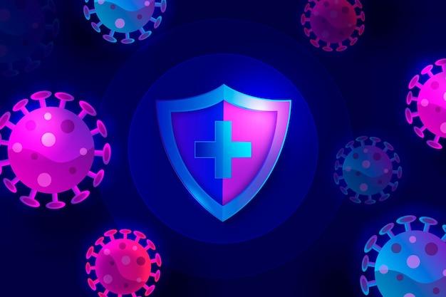보라색과 파란색 코로나 바이러스 박테리아와 방패 배경