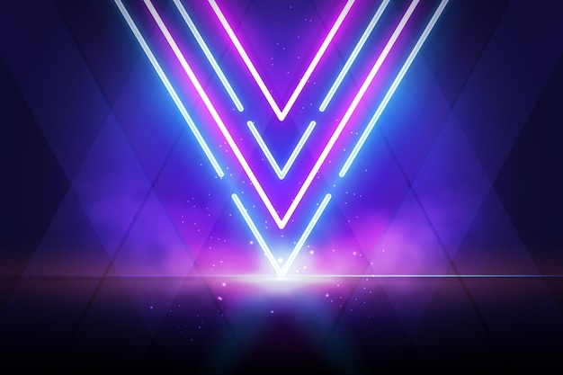 煙の効果の背景を持つ紫と青のライト