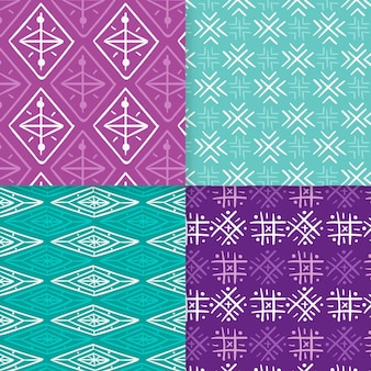 紫と青のソンケットのシームレスなパターンテンプレート