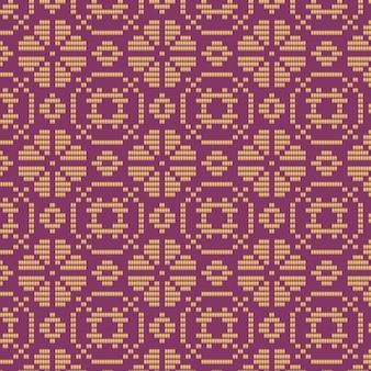 紫と茶色の花のソンケットパターン