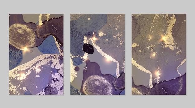 ジオードと輝きのテクスチャーとバイオレットとゴールドのパターンアルコールインク技術の抽象的なベクトルの背景キラキラとモダンなペイントバナーポスターデザインの背景のセット流体アート