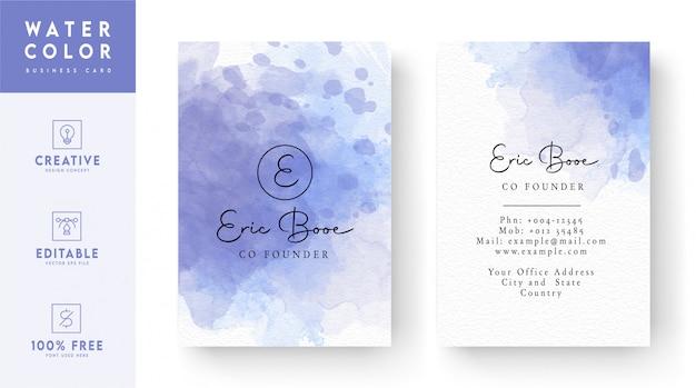 Шаблон визитной карточки абстрактный фиолетовый и белый цвет