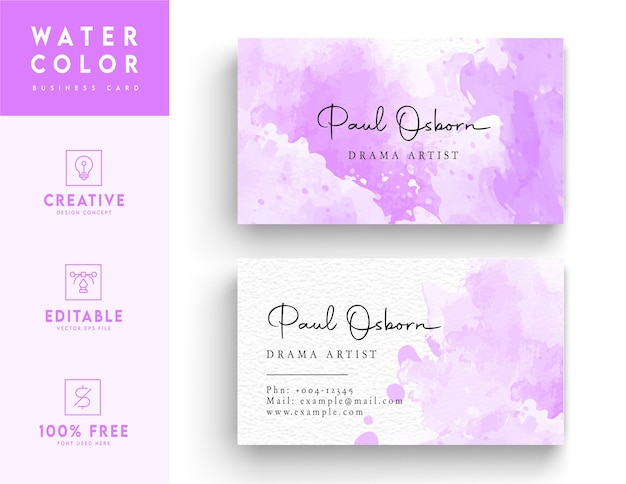 Фиолетовый и белый акварельный шаблон визитной карточки