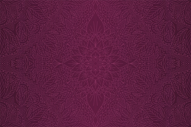 Violet art with linear decorative floral pattern
