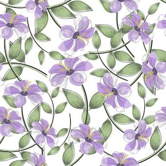 紫の花と緑の葉のシームレスなパターン。