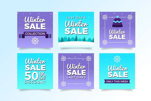 Violet and blue winter sale social media posts