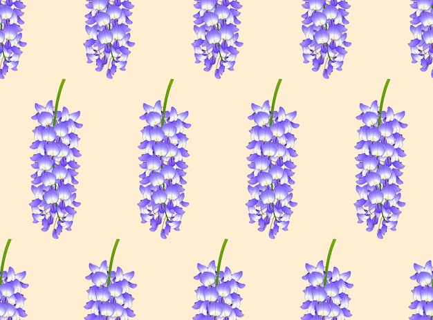 Violet blue wisteria on ivory beige background