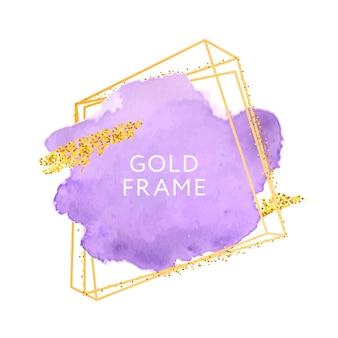 紫のブラシストロークとゴールドフレーム。