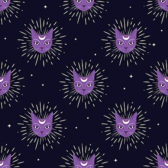 夜空に月とバイオレットの猫の顔シームレスなパターンの背景。
