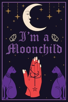 Violet cats and the moon. praying hands holding a rosary. i am a moonchild text. vector illustration