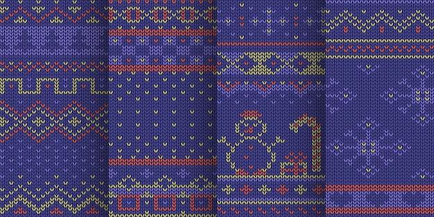 바이올렛 컬러 겨울 휴가 테마 원활한 니트 패턴 세트