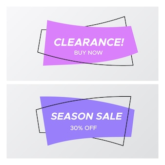 Violet colors flat curved rectangle sale sticker