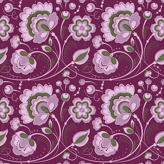 Violet floral seamless pattern in slavonic style