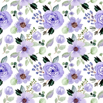 Violet floral watercolor seamless pattern