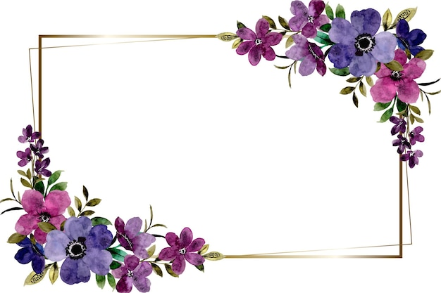 Violet flower frame background with watercolor