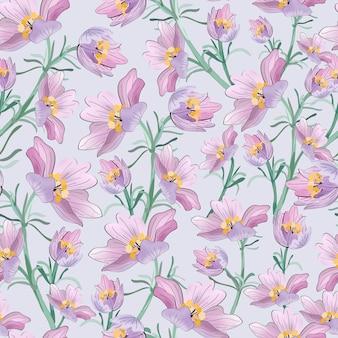 庭のシームレスなパターンで紫の花。