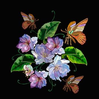 紫の花と蝶、刺繍