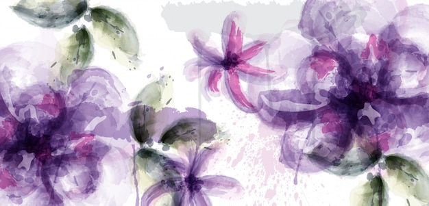 Violet flowers watercolor background