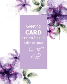 Violet flowers watercolor card