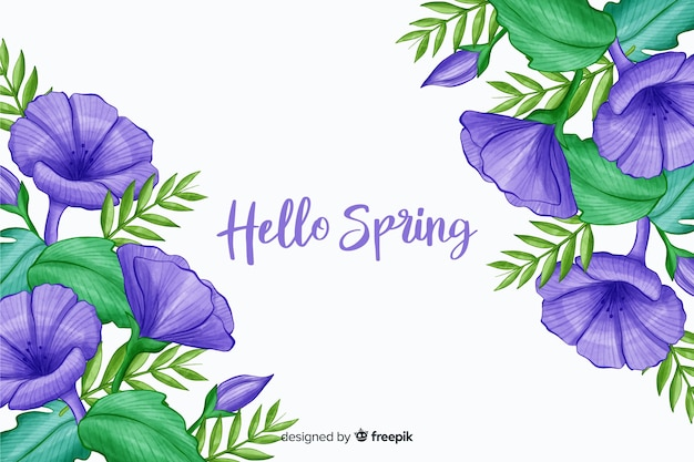 Violet flowers with purple hello spring quote