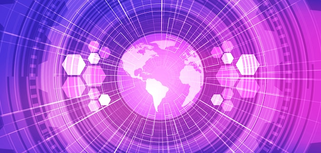 Violet global network future technology background.