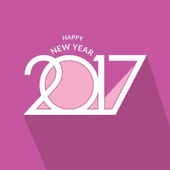 Violet greeting card for new year 2017