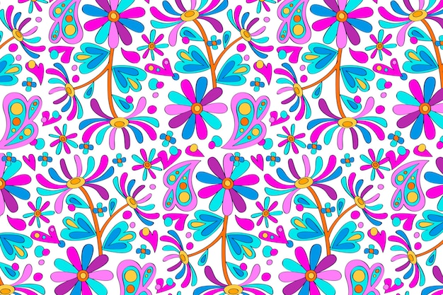 Violet hand drawn groovy floral pattern