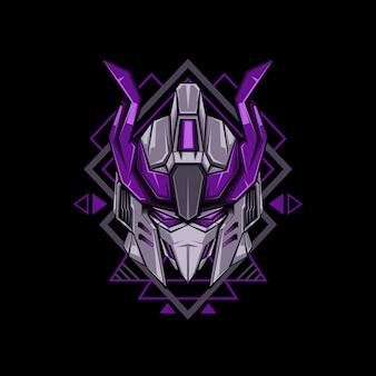 Violet horned head robot illustration